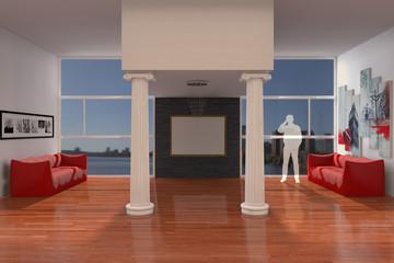 Arredo 3D di soggiorno con ampia finestra