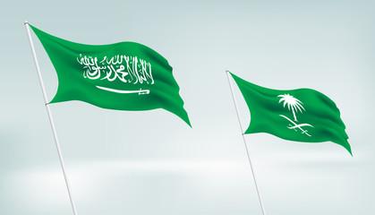 Realistic Two Saudi Arabia Flags Vector