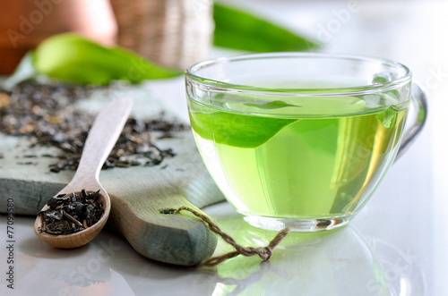 Deurstickers Thee Green spa tea