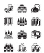 Beer and brewery icon set - vector illustration - 77095748