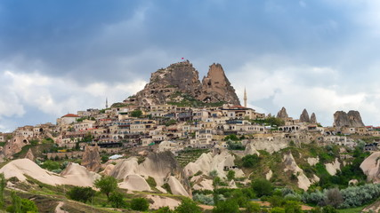 Timelapse view of Uchisar Castle cave houses. Cappadocia, Turkey