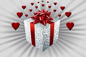 Caja de regalos, corazones, San Valentín