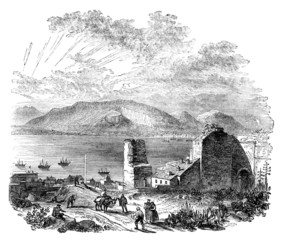 Victorian engraving of a  view of the Bay of Gibraltar, Spain