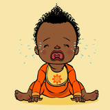 crying black baby. vector illustration