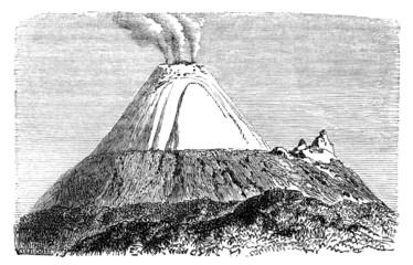 Victorian engraving of Cotopaxi, Equador