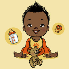 vector smiling black baby