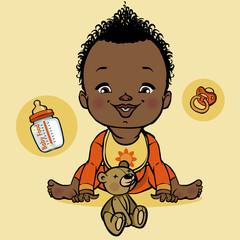 vector smiling black baby