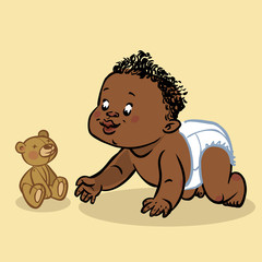 Funny vector cartoon colorfull crawling black baby. Vector illus