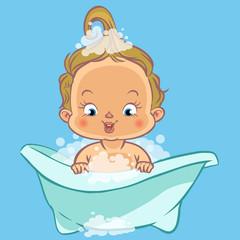 cute cartoon baby in a bath.Vector illustration