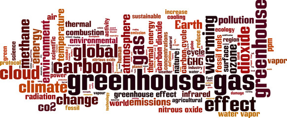 Greenhouse gas word cloud concept. Vector illustration