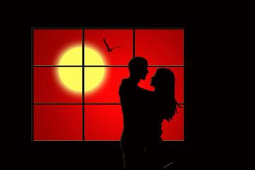 Pareja, ventana, sol, tarjeta, San Valentín