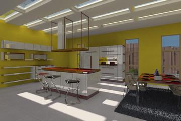 Arredo 3D di cucina con tante finestre