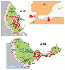 Ceuta and Melilla map