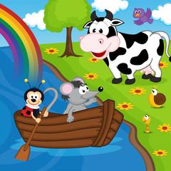 mouse ladybug on boat on river - vector illustration, eps