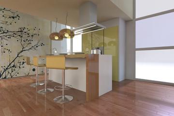 Arredo 3D di cucina con ampia finestra