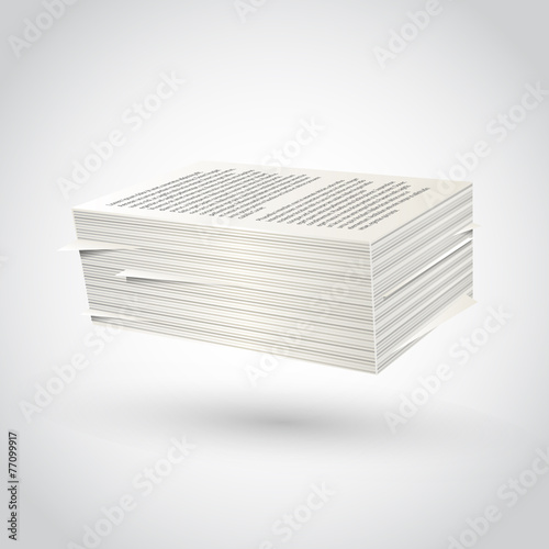 Ream of paper on white background - 77099917