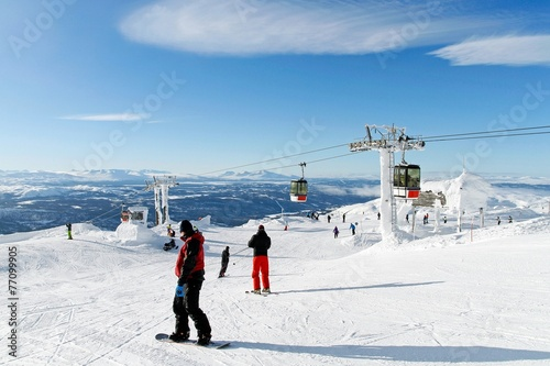 Skiers on the top of the piste Poster
