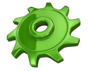 Green gear isolated on white background