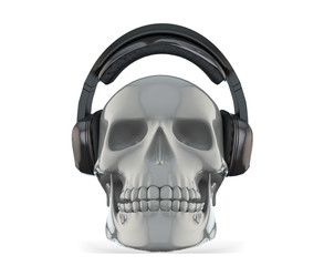 Skull with Headphones on White Background