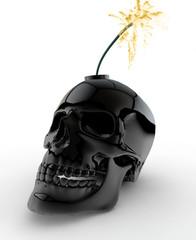 Black Skull Bomb on White Background