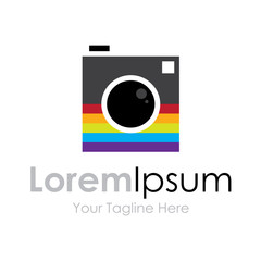 Colorful photography camera elements icon logo