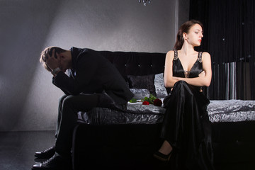Young Couple Quarreling While at the Bedroom