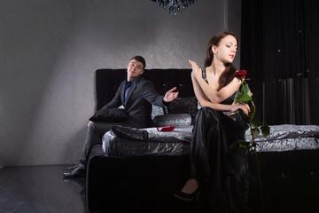 Disdainful woman ignoring her husband or boyfriend