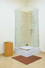 Shower cabin with mosaic tiles and glass door