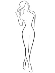 Abstract graceful female contour