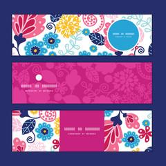 Vector fairytale flowers horizontal banners set pattern