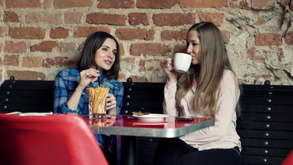 Young happy beautiful girlfriends talking in cafe