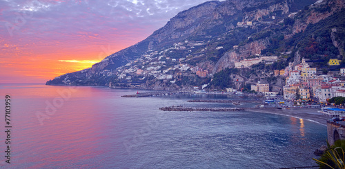City on the water Amalfi view. Sorrento gulf.