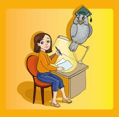 Девочка учится сидя за партой