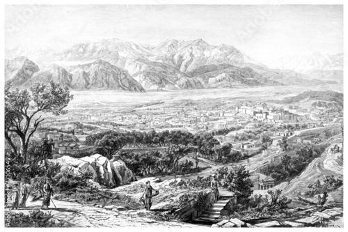 Zdjęcia na płótnie, fototapety, obrazy : Victorian engraving of an ancient view of Sparta, Greece