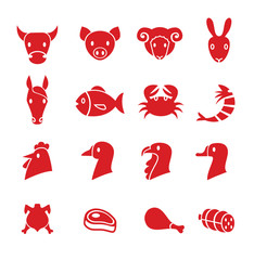 Set of various meat animals icons vector
