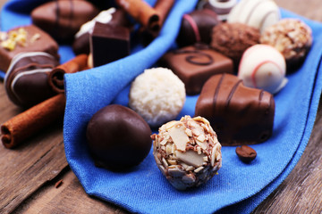 Group of chocolates with cinnamon stick