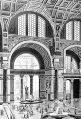 Victorian engraving of the Baths of Caracalla, Rome