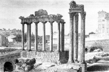 Victorian engraving of a view of the Roman Forum, Rome
