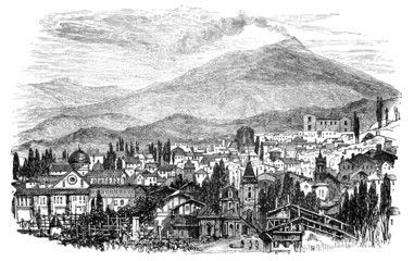 19th century engraving of Mt. Aetna and Brole, Sicily