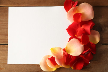 Beautiful hand made post card with rose petals