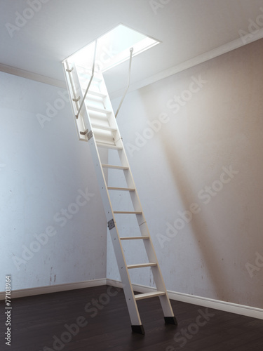 Foto op Canvas Trappen Room with wooden ladder to the attic