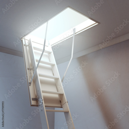 wooden ladder to the attic - 77108983