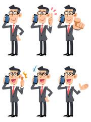携帯電話で話すメガネをかけたビジネスマン6ポーズセット