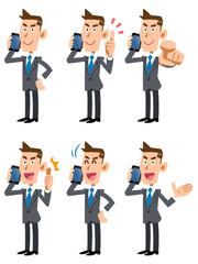 携帯電話で話すビジネスマン6ポーズセット