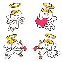 天使のイラスト4ポーズセット