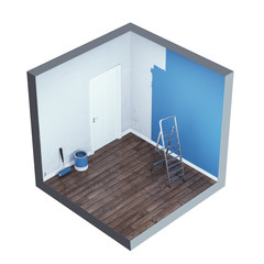 Interior with ladder and paint