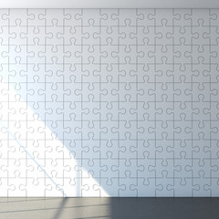 White puzzle wall