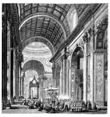 19th century engraving of a procession at St. Peter's Basilica