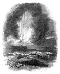 19th century engraving of an erupting Mt. Vesuvius, Naples, Ital