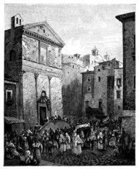 19th century engraving of a funeral procession, Naples, Italy